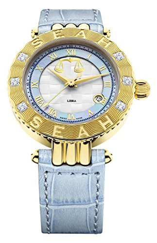 Diamond White Leather Watch (Seah Empyrean Zodiac sign Libra, 42mm, Limited Edition 18K Yellow Gold, Swiss Made Automatic, Luxury Diamond watch with Blue Hirsch Alligator Leather Band.)