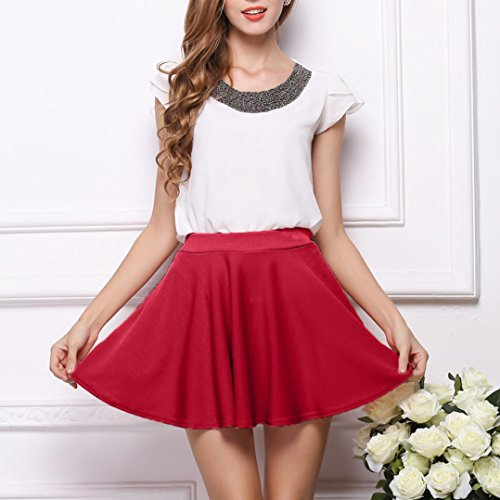Courte De Robe Swing Polyester Jupe Rouge Mini Lenfesh en Patineur De VasE OnxRCn6wB