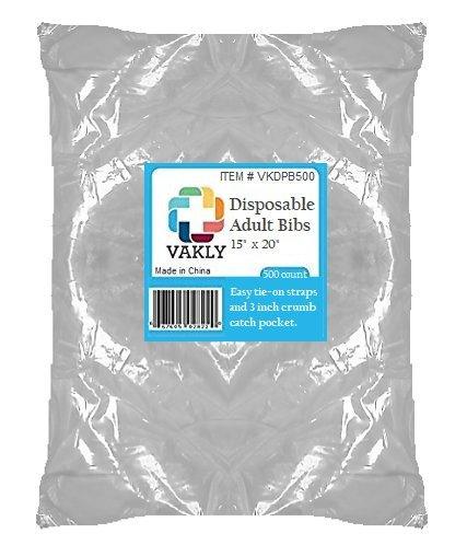 Vakly Disposable Plastic Adult Bibs With Crumb Catch Pocket (500)