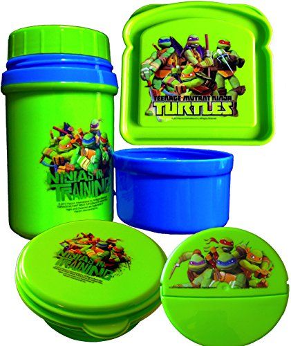 Teenage Mutant Ninja Turtles Lunch Set Thermal Drink Ware Edition with 2 Snack Containers and Sandwich Container -