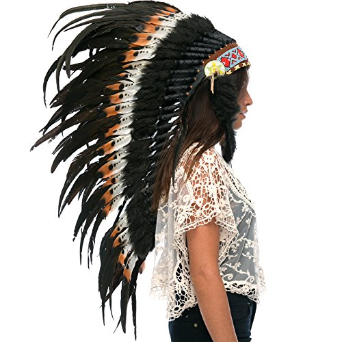 Long Feather Headdress- Native American Indian Inspired- Handmade Halloween Costume for Men Women with Real Feathers - DOUBLE FEATHER Brown - Aztec Costumes For Halloween