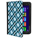 VanGoddy Mary 2.0 Standing Portfolio Case for DigiLand 10.1 inch Tablets, Blue Checker