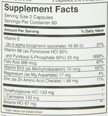 FoodScience of Vermont Behavior Balance-DMG Capsules, Behavior Support Supplement, 120 Count