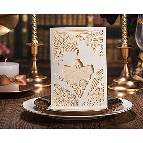 VStoy Einladungskarten zur Hochzeit, mit Laserschnitt, Set für Hochzeit, Verlobung, Design Braut und Bräutigam Liebeskuss, mit Umschlägen und Siegel, Party-Dekor, Hellbraun, 20Stück
