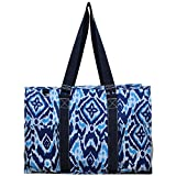 "N. Gil All Purpose Organizer 18"" Large Utility Tote Bag 3 (Blue Ikat Navy)"
