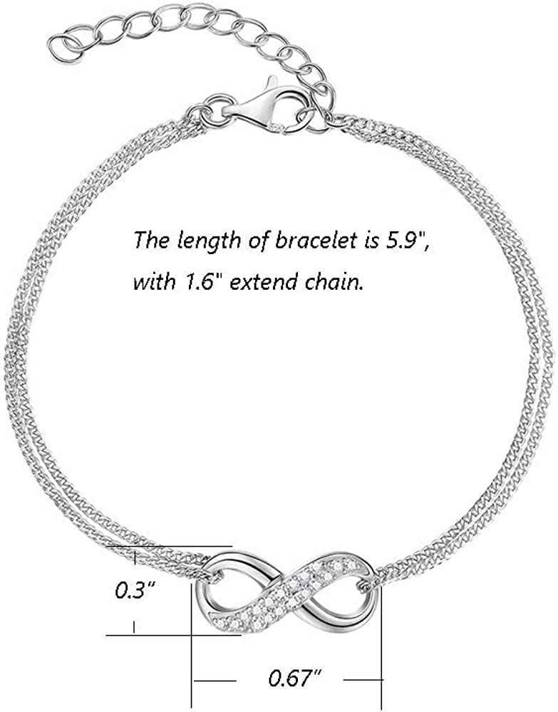 FANCIME White Gold Plated Solid Real 925 Sterling Silver Round Halo CZ Cubic Zirconia Adjustable Bolo Tennis Bracelet Fine Jewelry Gifts for Women