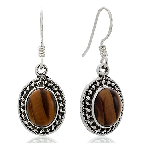 925 Sterling Silver Brown Tigers Eye Gemstone Oval Rope Edge Vintage Dangle Hook Earrings (925 Sterling Silver Tiger)