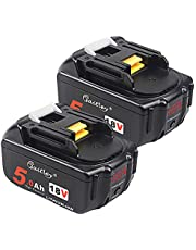 2-pack – quper 18V 5,0 Ah bl1850 Li-ion-ersättningsbatterier (med LED-skärm) kompatibel med Makita DKP180Z,DTM51Z,DHS680Z, DTD152Z, DJV181Z, DGA452Z, DTD152Z LXT, DJR188Z.