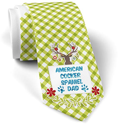 Green Plaid Christmas Neck Tie Dog & Cat Dad American Cocker Spaniel gift for men