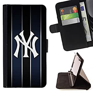 DEVIL CASE - FOR Sony Xperia Z3 D6603 - New York Yank Baseball - Style PU Leather Case Wallet Flip Stand Flap Closure Cover