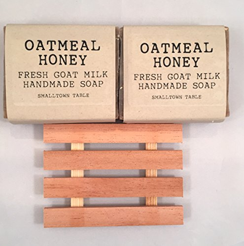 Oatmeal Milk  Honey Goat's Milk Handmade Soap 2-PACK SET All Natural Organic Ingredients. Gentle and Effective Cleanser Includes Wooden Soap Dish
