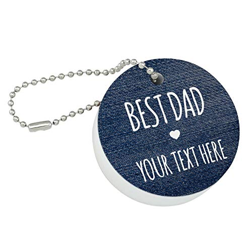 Graphics and More Personalized Custom 1 Line Best Dad Father Denim Texture Round Floating Foam Fishing Boat Buoy Key Float Keychain ()