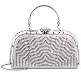 Yuenjoy Womens Evening Bags Rhinestone Clutch Purse for Bridal Wedding (Silver)