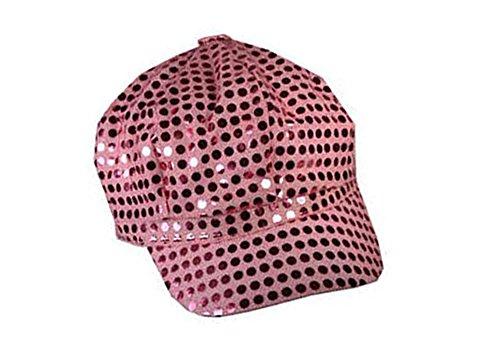 Pink Sparkly Sequin Newsboy Cap Diva Hat Disco Rave Girls Costume (Disco Dancewear)