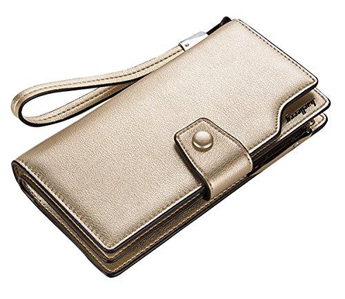 Wallets Gold Winsterch Credit Organizer Handbag Clutch Card Wallet E Women Leather Blue Purse 77q1St