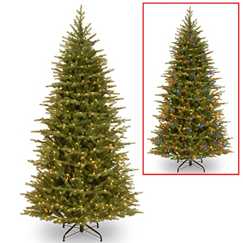 """National Tree 7.5 Foot """"Feel Real"""" Nordic Spruce Slim Tree with 600 Dual LED Lights, Hinged (PENS4-337D-75)"""