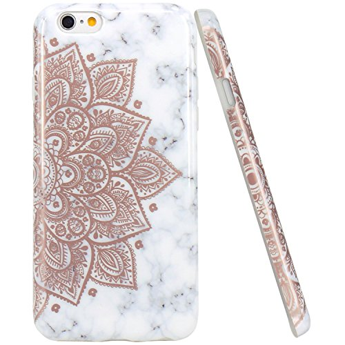iPhone 6 Case, iPhone 6S Case, JAHOLAN Shiny Rose Gold Mandala Flower Marble Design Clear Bumper TPU Soft Rubber Silicone Cover Phone Case for iPhone 6 iPhone 6S