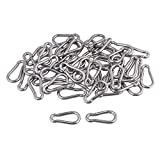Yibuy 50 x Multifunctional Spring Snap Quick Link Lock Carabiner Stainless M4 40mm