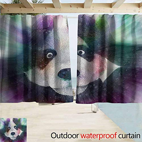 AndyTours Rod Pocket Curtains,Psychedelic Panda Character in Dream World of Magic Hallucination Junkie Animal Artwork,Darkening Thermal Insulated Blackout,W55x45L Inches,Grey White ()