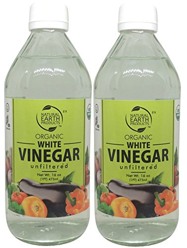 Natural Earth Organic White Vinegar Unfiltered - 100% USDA Organic - Best For All Household Needs and Beyond - Certified Kosher - 2 Pack of 16 Fl. Oz by Natural Earth