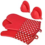 Heat Resistant Silicone Oven Mitts, 1 Pair of Extra Long Potholder Gloves with Bonus 1 Pair of Mini Cooking Pinch Grips, Non-Slip Cotton Lining Kitchen Glove for Baking, Barbeque, Red