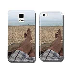 Man with sandy feet relaxing in sun on the sandy beach cell phone cover case iPhone6