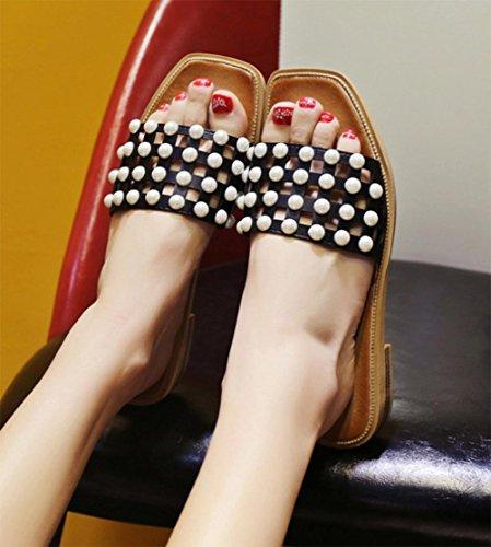 deslizadores de la palabra antideslizantes planas sandalias de la manera sandalias y zapatillas de perlas femeninas y zapatillas planas con los estudiantes , white , US8 / EU39 / UK6 / CN39 Black