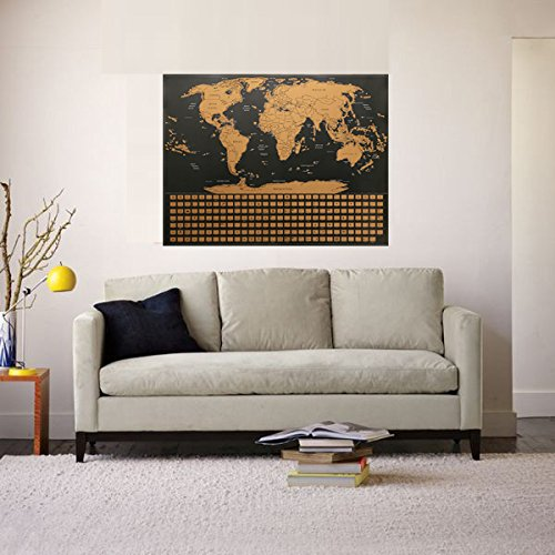 Kakbpe Scratch Off Map of The World Poster - with US States and Country Flags, Track Your Adventures.