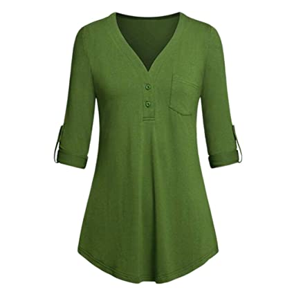 8ecfd53620b583 Amazon.com: Women Button Down Blouse,Kshion Women Split V-Neck 3/4 ...