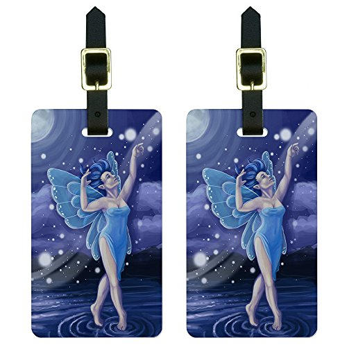 Blue Dancing Fairy - Moonlit Night Faerie Fae Luggage Tags Suitcase ID Set of 2