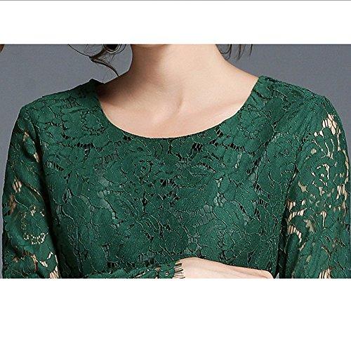 Partykleid Spitze Hohl Linie Grün Kleid Damen Midi Kleider Reine Langarm Cocktailkleid YL31506 A DISSA 1PHqXP