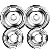 W10196405 and W10196406 Chrome Burner Drip Pan Bowls Replacement By AMI PARTS Fits Whirlpool Elec...