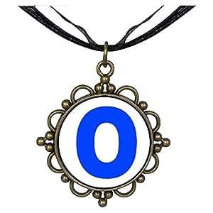 Chicforest Bronze Retro Style Blue Letter O Round Flower Pendant