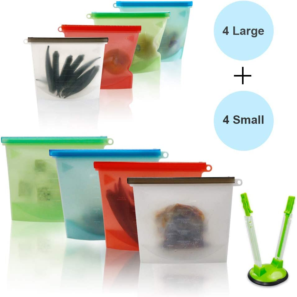 Silicone Bags, Eco Sandwich Bags Food-Grade Reusable Leakproof Storage Bag Freezer Microwave Safe for Food Preservation Containers for Vegetable Liquid Snacks Fruits (4 Large and 4 Small)