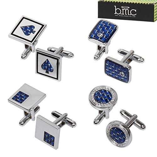 BMC 4 Pair Mix Shaped Sapphire Blue Carbon Fiber Pattern Decorated Mens Silver Metal Cufflink Set (Cufflinks Pattern Silver)