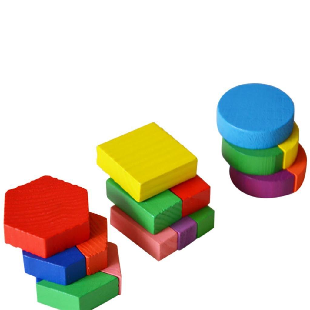 15*15*0.5cm, A Juguetes del beb/é,Ni/ños beb/é de Madera Geometr/ía Bloques de Construcci/ón Puzzle Aprendizaje temprano Juguete Educativo LMMVP