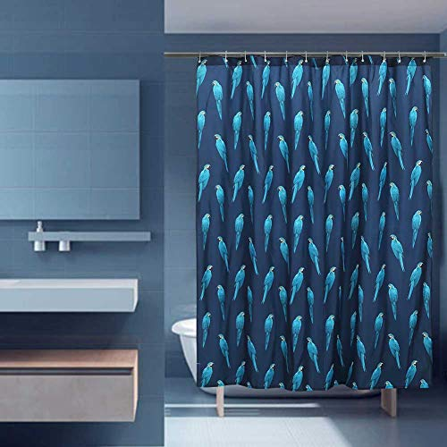 Shower Curtain Parrot Bird Designed Print, Hotel Quality, Water Repellent, Spa Bathroom Fabric Curtains with Grommets (Parrot Style, 71