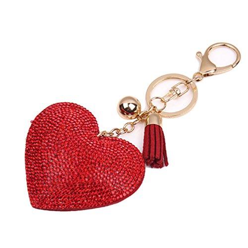 (Romantic Dazzling Rhinestone Love Heart Charm Pendant Fringe Keychain Keyring - Red Ameesi)