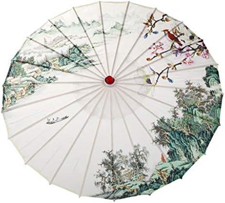 Hellery Traditioneller Regenschirm Deko Schirm Tanzschirm, Regen- & Sonnenschirm, aus Bambus Holz und Seidentuch - 04