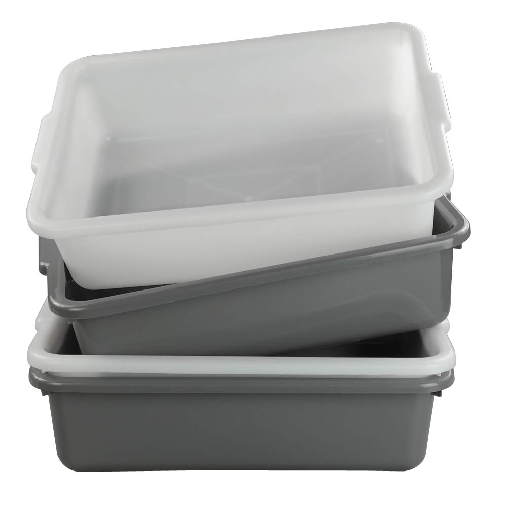 Nicesh 4-Pack 13 L Plastic Commercial Bus Tub, Wash Basin Tote Box