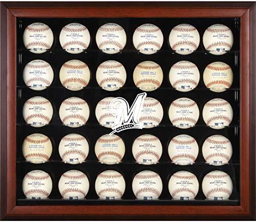 (Milwaukee Brewers Logo Mahogany Framed 30-Ball Display Case )