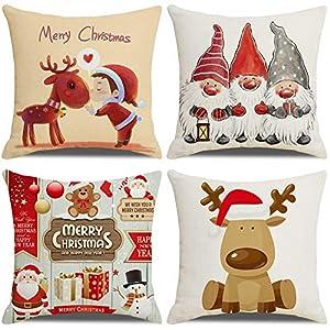 LAXEUYO Housse De Coussin Noël, Lot de 4 père Noël Wapiti Coton et Lin Décoratif Taie d'oreiller 45 x 45 cm