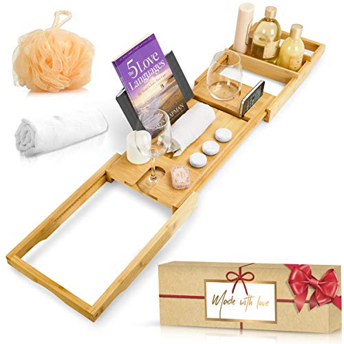 Royal Bathtub Tray Set - Expandable Non-Slip Bamboo Wooden Caddy Bath Holder for Drinks Book Tablet & Phone - Bathroom Hot Tub Accessories Extra Towel and Sponge Perfect Shower Gift