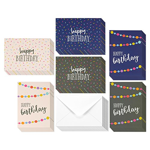 36 Pack Happy Birthday Greeting Cards, 6 Handwritten Modern Style Colorful Designs, Bulk Box Set Variety Assortment, Envelopes Included 5 x 7 Inches