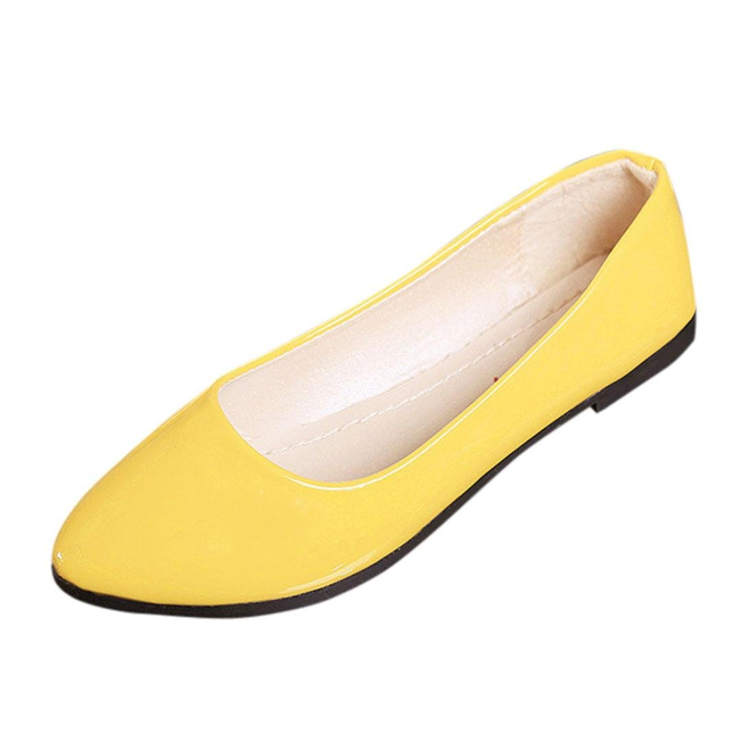 Sandalen Damen LHWY Frauen Slip on Flache Schuhe Spitz Toe Absatz Slipper Büro Elegant Party Pump Sandalen Größe Basic Pantoletten Gelb