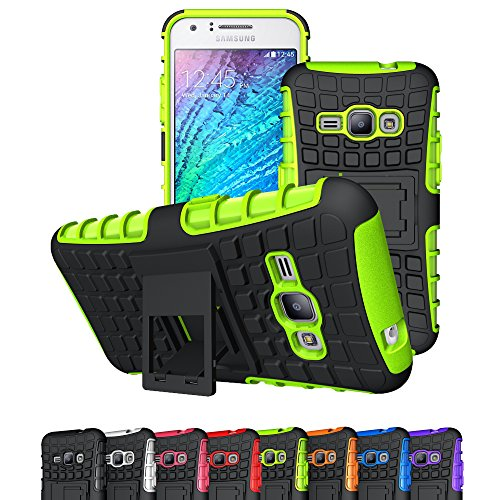 J1 2016 Case, Galaxy Amp 2 Case, Galaxy Express 3 Case, Viodolge [Shockproof] Hybrid Tough Rugged Dual Layer Protective Case Cover with Kickstand for Samsung Galaxy J1 2016 / Amp 2 / Express 3 (green)