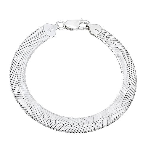 "Chunky 9mm Thick 925 Sterling Silver Flat Herringbone Bracelet, 8"" - Made in Italy + Bonus Cleaning Cloth"