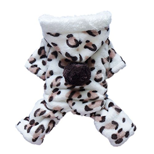 Cheap Topbeu Soft Winter Pet Dog Clothes Hooded Double Sided Flannel Jumpsuit Coat (Leopard, XXL-(Back16,Chest19,Neck14))