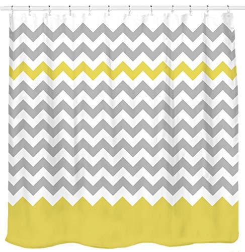 Sunlit Zigzag Yellow and Gray White Chevron Shower Curtain. Geometric Print Pattern Lines and Contemporary Stripes Modern Design Prined Fabric Bathroom Decor. Light Grey Lemon Color Block Hem - Contemporary Modern Geometric Blocks
