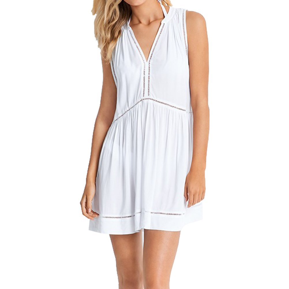 Seafolly Tibetan Travel Ladder Detail Dress Cover Up - White by Seafolly